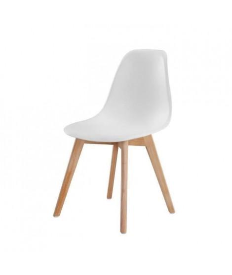 SACHA Chaise de salle a manger blanc - Pieds en bois hévéa massif massif - Scandinave - L 48 x P 55 cm