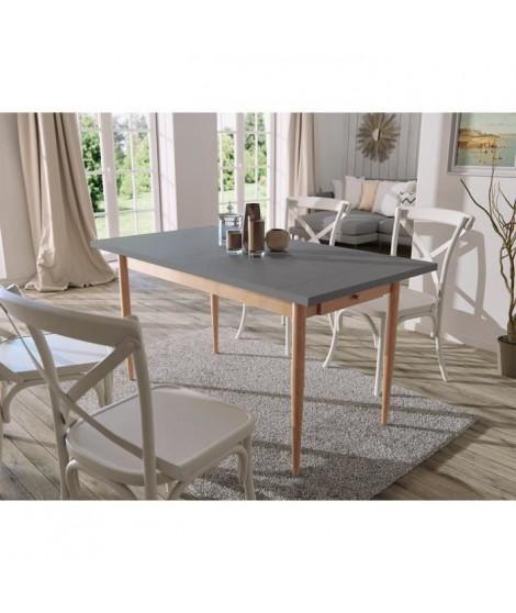 FINLANDEK Table a manger KATTY de 6 a 8 personnes scandinave décor gris foncé + pieds métal décor bois naturel - L 150 x l 80 cm