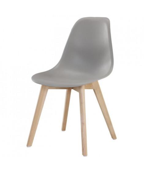 SACHA Chaise de salle a manger gris - Pieds en bois hévéa massif - Scandinave - L 48 x P 55 cm