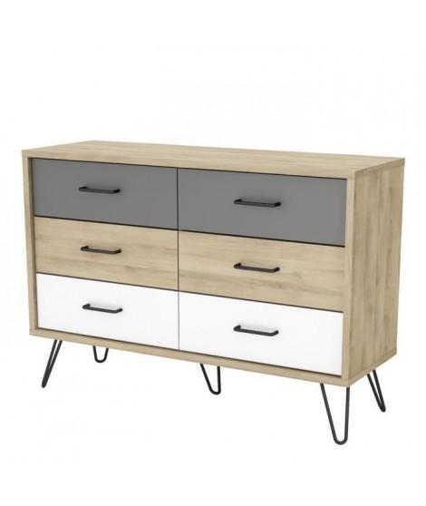 FILEA Commode 6 tiroirs - Décor chene kronberg blanc et gris - L 116,7 x P 42,3 x H 81,5 cm
