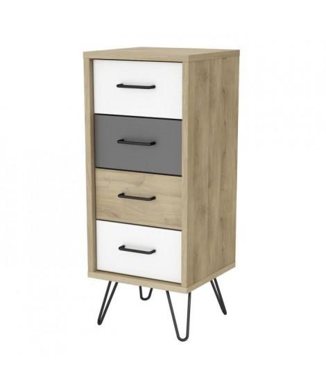 FILEA Chiffonnier 4 tiroirs - Décor chene kronberg blanc et gris - L 41,6 x P 39,7 x H 100,7 cm