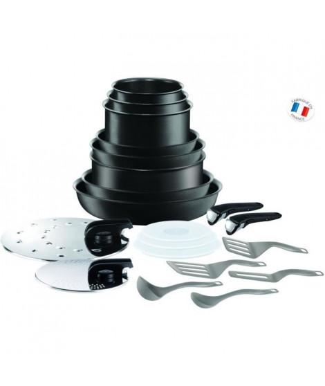 TEFAL INGENIO PERFORMANCE Batterie de cuisine 20 pieces L6549802 16-18-20-22-24-26-28cm - Tous feux dont induction - Noir