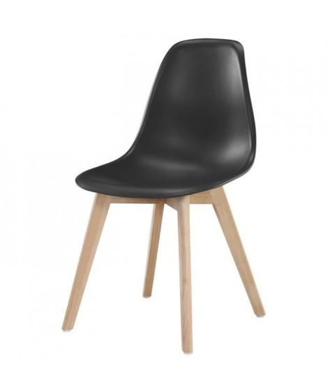 SACHA Chaise de salle a manger noir - Pieds en bois hévéa massif - Scandinave - L 48 x P 55 cm