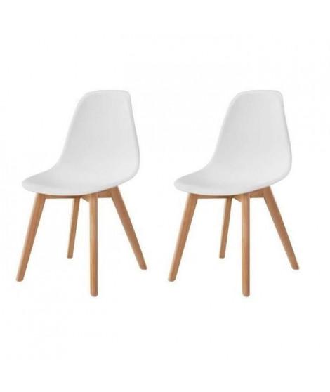 SACHA Lot de 2 chaises de salle a manger blanc - Pieds en bois hévéa massif - Scandinave - L 48 x P 55 cm