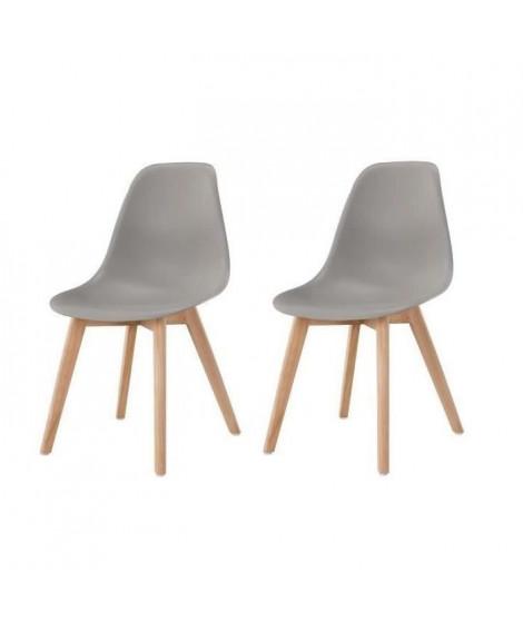 SACHA Lot de 2 chaises de salle a manger gris - Pieds en bois hévéa massif - Scandinave - L 48 x P 55 cm
