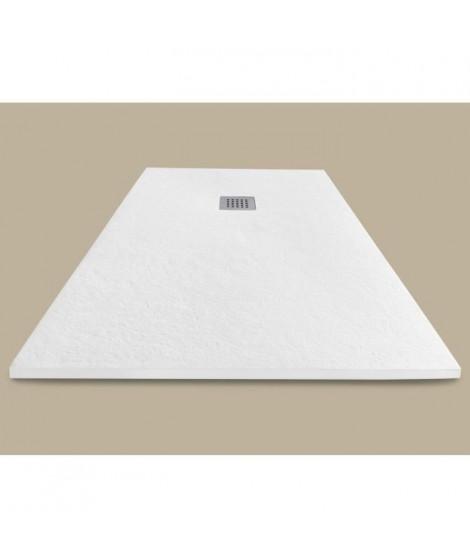 MITOLA Receveur de douche rectangulaire a poser Liwa - 100 x 80 cm - Résine composite - Blanc