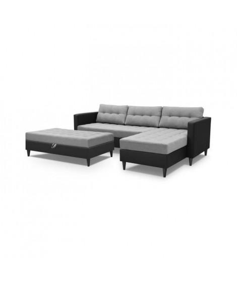 DYAN Canapé d'angle réversible 4 places + pouf - Simili noir et tissu gris clair - Scandinave - L 219 x P 150 cm