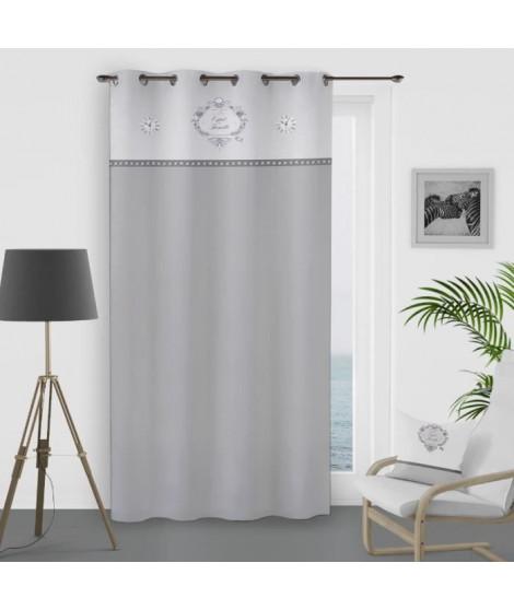SOLEIL D'OCRE Rideau a oeillets Esprit Famille 100% Coton 135x250 cm - Blanc