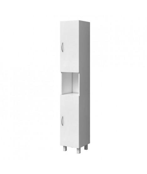 ESSENTIEL - Colonne de salle de bain 2 portes - Blanc - L 30 cm