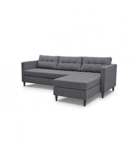 DYAN Canapé d'angle réversible fixe 4 places - Tissu gris anthracite + pieds noir - L219xP150xH80 cm