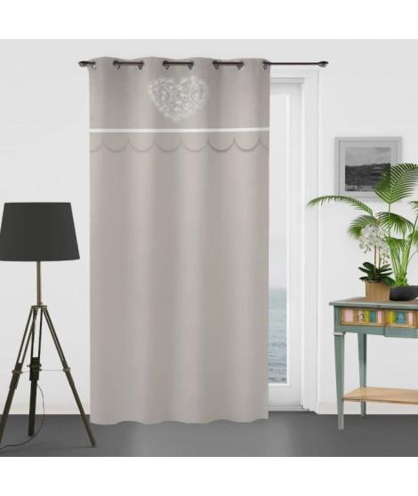 SOLEIL D'OCRE Rideau brodé en coton - Secret - 135x250 cm - Taupe