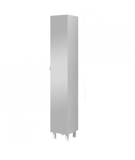 ESSENTIEL - Colonne de salle de bain 1 porte + miroir - Blanc - L 30cm
