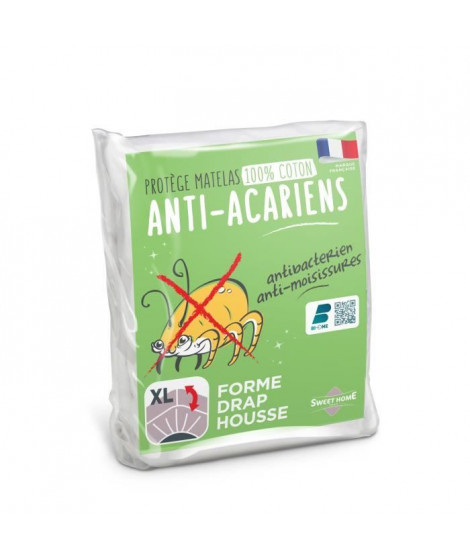 SWEETHOME Protege-matelas 100% coton - Anti-acariens - 180x200 cm