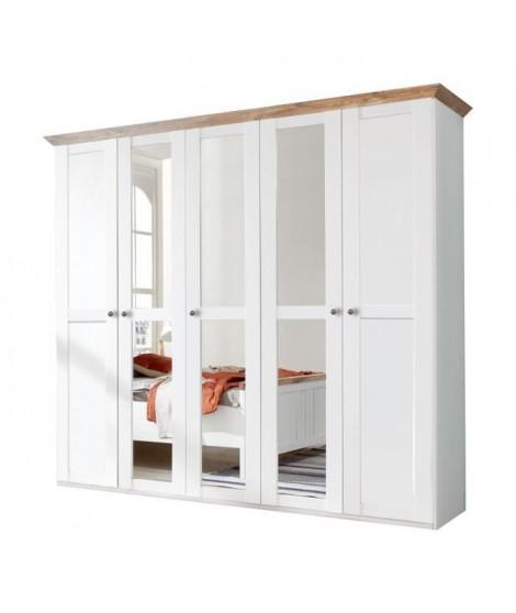 OXFORD Armoire de chambre - Classique - Blanc et décor chene poutre - L 225 cm