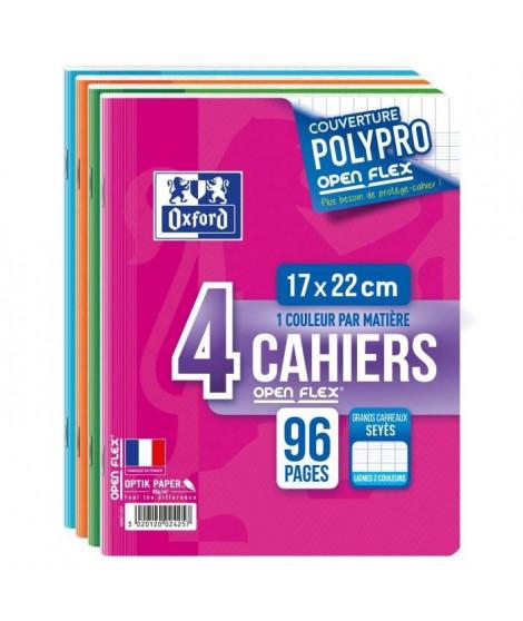 OXFORD Lot de 4 cahiers agrafés 96 pages seyes 17 x 22 cm Openflex - 90g