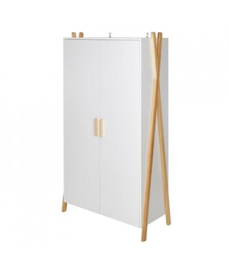 AMAROK Armoire enfant - Pin massif et MDF - Blanc/naturel - Style scandinave - L 46 cm