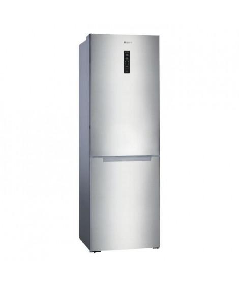HAIER HBM-686XNF-Réfrigérateur combiné congélateur bas-317 L (222+ 95 L)-Froid ventile No Frost-A+-L 60 cm x H 185cm-Simili inox