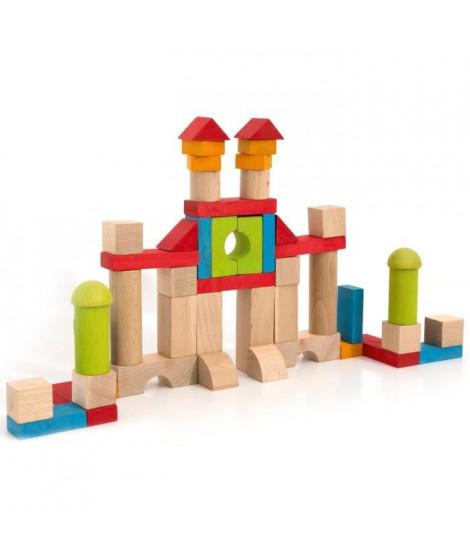 JEUJURA -Jeu de Construction en Bois, 52 Pieces