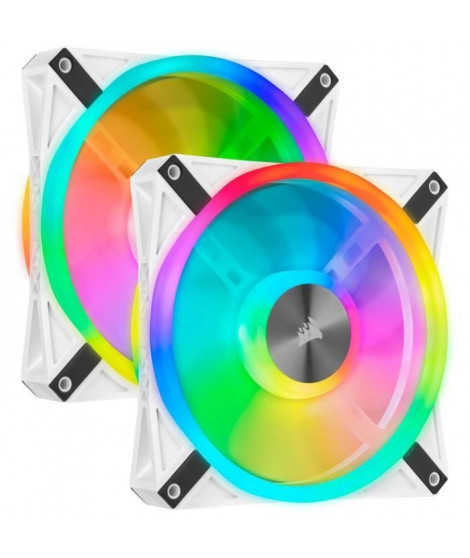 CORSAIR QL140 RGB Blanc, 140mm RGB LED Fan, Dual Pack + Lighting Node CORE (CO-9050106-WW)