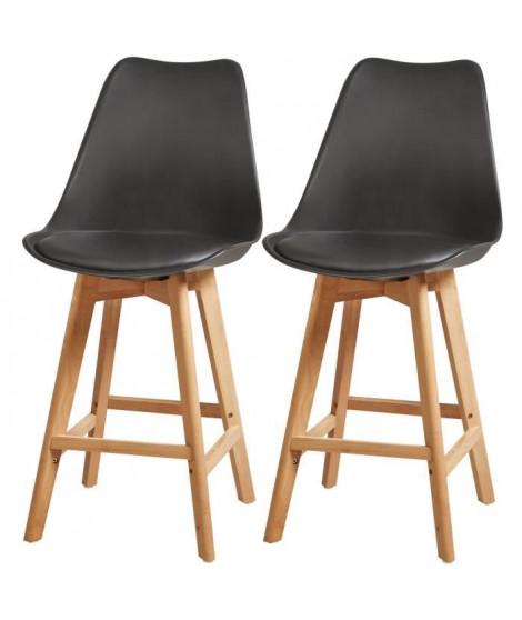 BJORN Lot de 2 tabourets de comptoir pieds en bois hetre massif - Revetement simili noir - Scandinave - Assise H 65cm