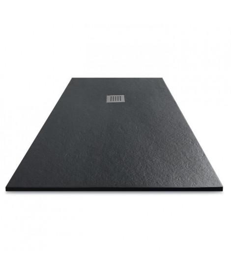 MITOLA Receveur de douche rectangulaire a poser Liwa - 140 x 90 cm - Résine composite - Gris anthracite
