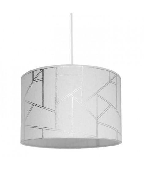 HAROLD Suspension en polyester et coton - Ø30cm x H.20 cm - Blanc - Motif irisé - E27 40 W