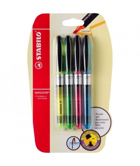 Blister x 4 surligneurs STABILO NAVIGATOR - jaune + bleu + vert + rose