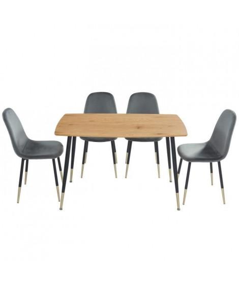 MARCO Ensemble repas table + 4 chaises - Velours gris - Style vintage - L 120 x P 70 x H 75cm