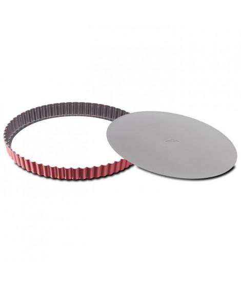 TEFAL Moule a tarte Delibake en acier - Ø 30 cm - Rouge et gris - Fond amovible