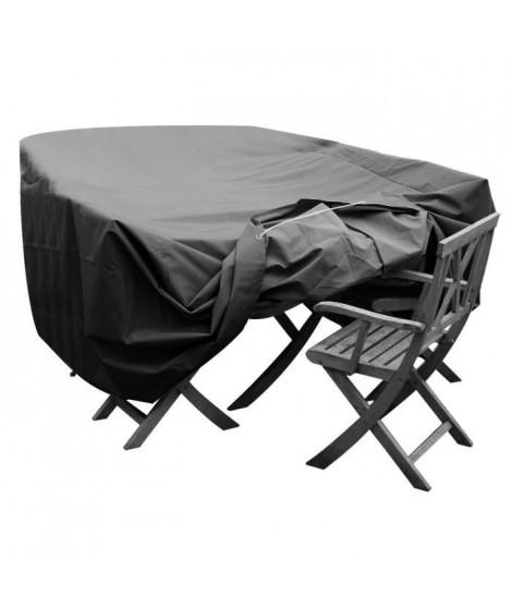 GREEN CLUB Housse de protection pour salon de jardin table + 6 a 8 chaises - 250x150x65 cm - Anthracite