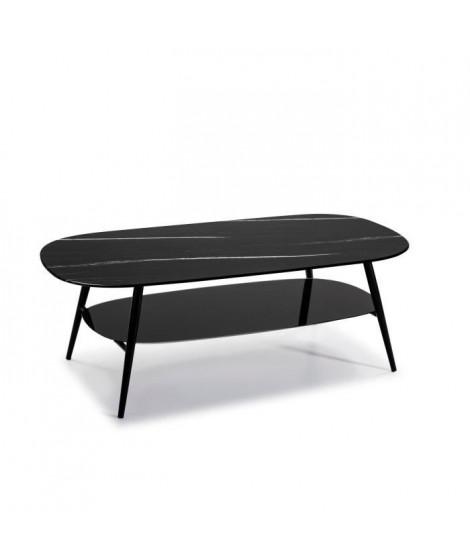 SALINA Table de salon ovale - Verre Marbré noir - L 120 x P 60 x H 45 cm