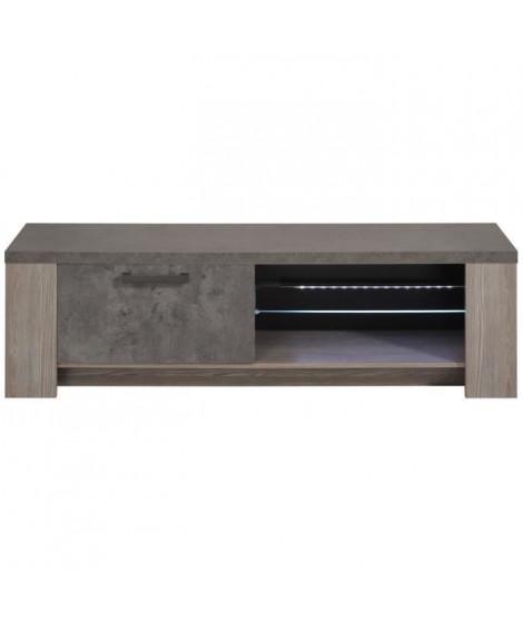 CLAY Meuble TV avec LED contemporain décor chene argile et béton foncé - L 151 cm