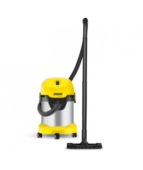 KÄRCHER Aspirateur eau-poussiere WD 3 Premium - Fonction soufflerie - Cuve inox 17 L - 1000 W - Gris et jaune