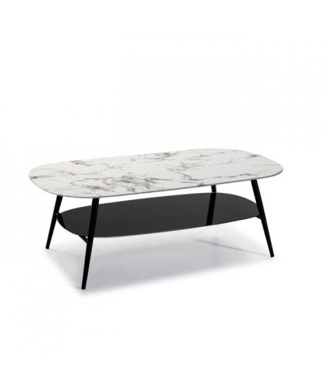 SALINA Table de salon ovale - Verre Marbré blanc et noir - L 120 x P 60 x H 45 cm