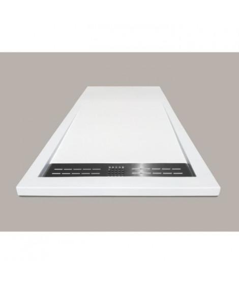 MITOLA Receveur de douche rectangulaire a poser Spirit - 100 x 80 cm - Résine composite - Blanc