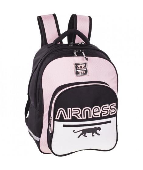 AIRNESS Sac a dos borne 100737606 - 2 Compartiments - Noir, blanc et rose