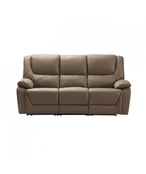 SALVADOR Canapé 3 places avec 2 assises électriques - Cuir et simili gris - L 204 x P 96 x H 103 cm