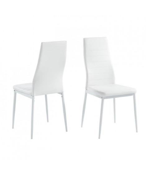SAM Lot de 2 chaises de salle a manger - Blanc - Pieds en métal  - 41 x 54 x 96 cm