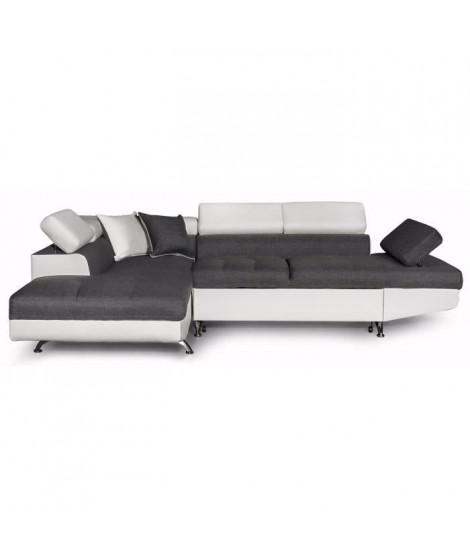 FUTURA Canapé d'angle gauche convertible 4 places + Coffre de rangement - Tissu gris et simili blanc - L 272 x P 192 cm