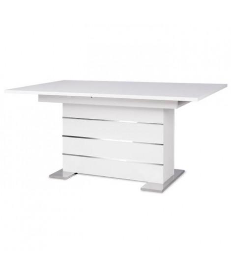 MANTOVA Table extensible 6 a 8 personnes style contemporain blanc et alu - L 160 a 200 cm