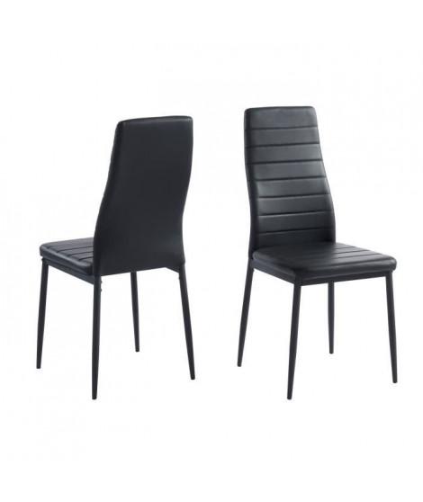 SAM Lot de 2 chaises de salle a manger - Noir - Pieds en métal  - 41 x 54 x 96 cm
