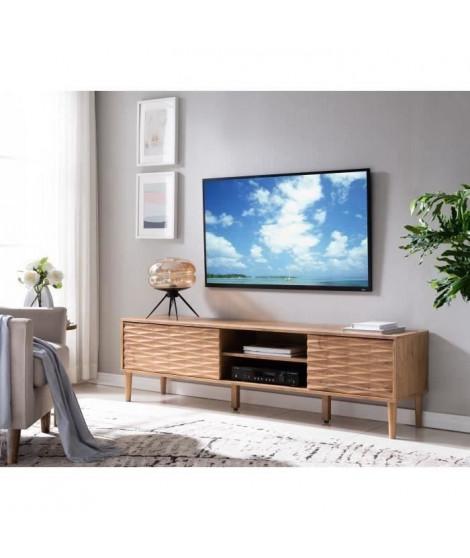 GIO Meuble TV 2 portes - Décor chene Country - L 180 cm