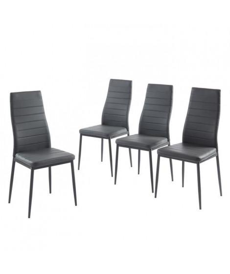 SAM Lot de 4 chaises de salle a manger - Gris - Pieds en métal  - 41 x 54 x 96 cm