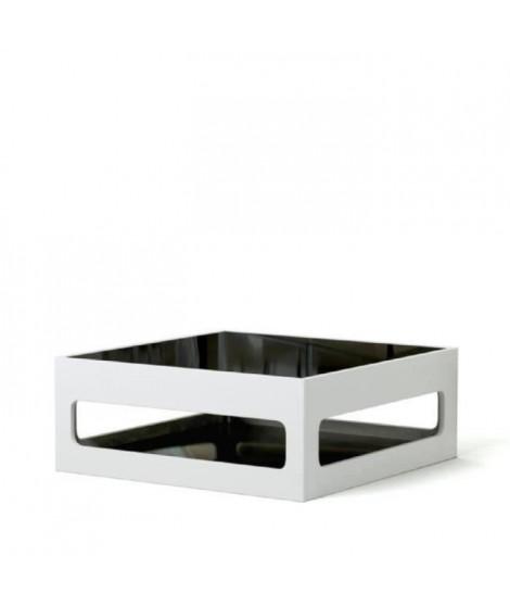 ANGEL Table basse carrée style contemporain laquée blanc brillant avec plateaux en verre trempé noir - L 90 x l 90 cm
