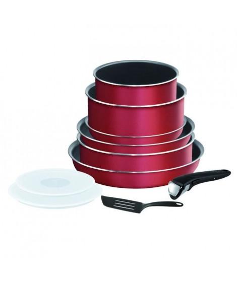 TEFAL L2289402 Batterie de cuisine 8 pieces INGENIO ESSENTIAL - Tous feux sauf induction - Made in France - Rouge