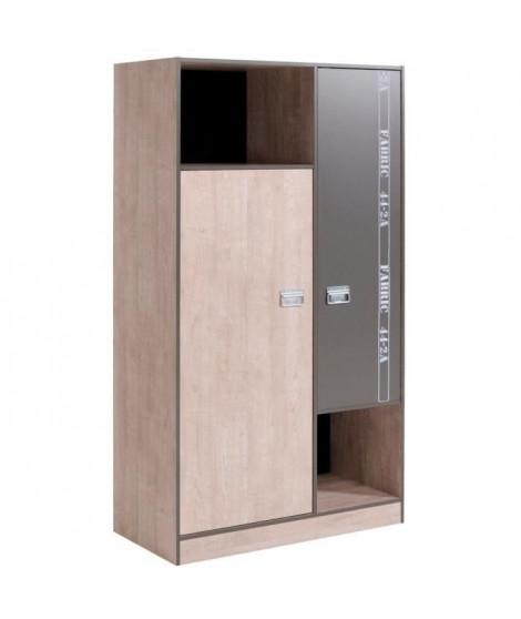 NOA Armoire de chambre style industriel gris loft et gris ombre - L 101 cm