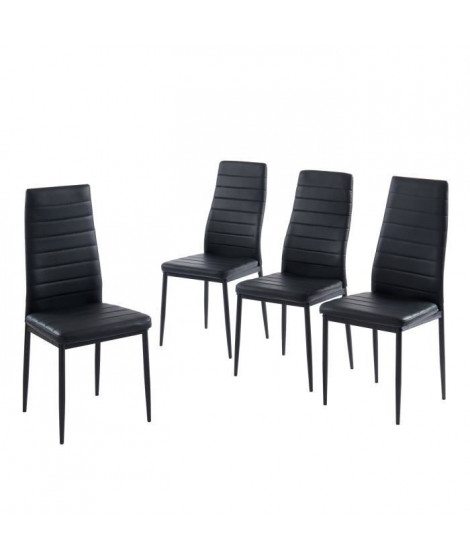 SAM Lot de 4 chaises de salle a manger - Noir - Pieds en métal  - 41 x 54 x 96 cm