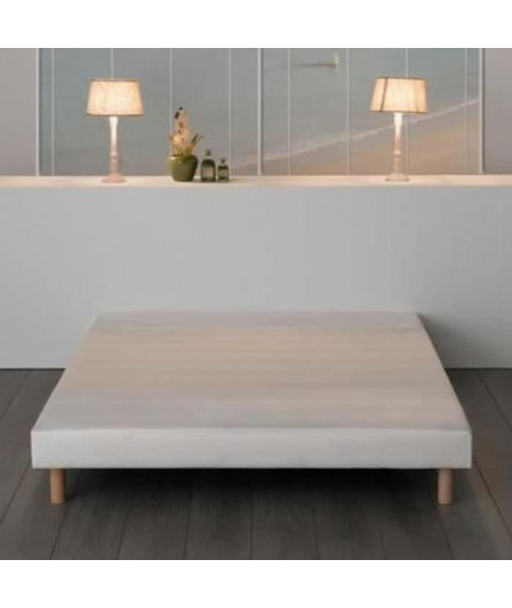 Sommier tapissier a lattes 160 x 200 - Bois massif blanc + pieds bois verni clair - FINLANDEK Rakenne