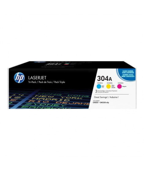 HP 304A pack de 3 toners LaserJet cyan/magenta/jaune authentiques (CF372AM) pour HP Color LaserJet CM2320/CP2025