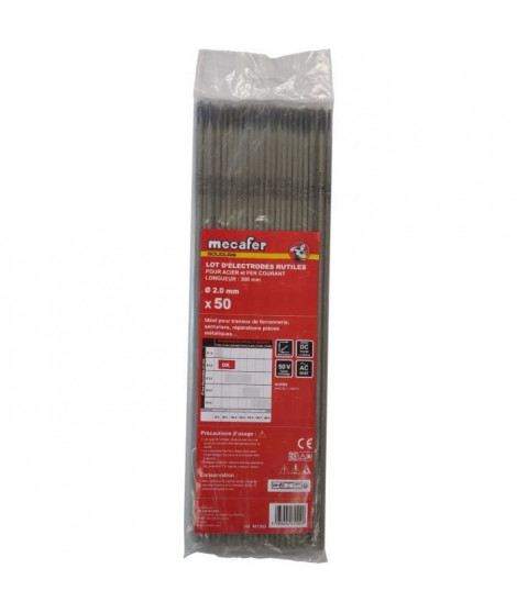 MECAFER Lot de 50 électrodes acier - Ø 2 mm L 300 mm